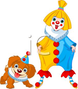 Royalty Free Clipart Image  Cartoon Of A Cute Girl Clown And Her Dog