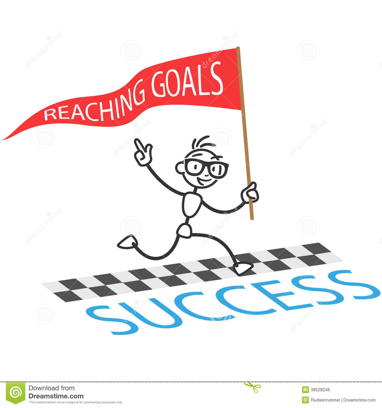 Stick Figure With Flag Labeled Reaching Goals Crossing Finishing Line