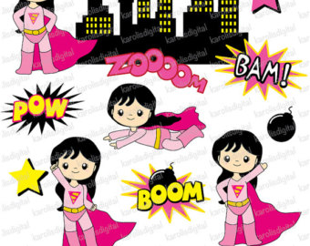 Supergirl   Superheroes   For Girls   Clip Art Set   Comic Superhero