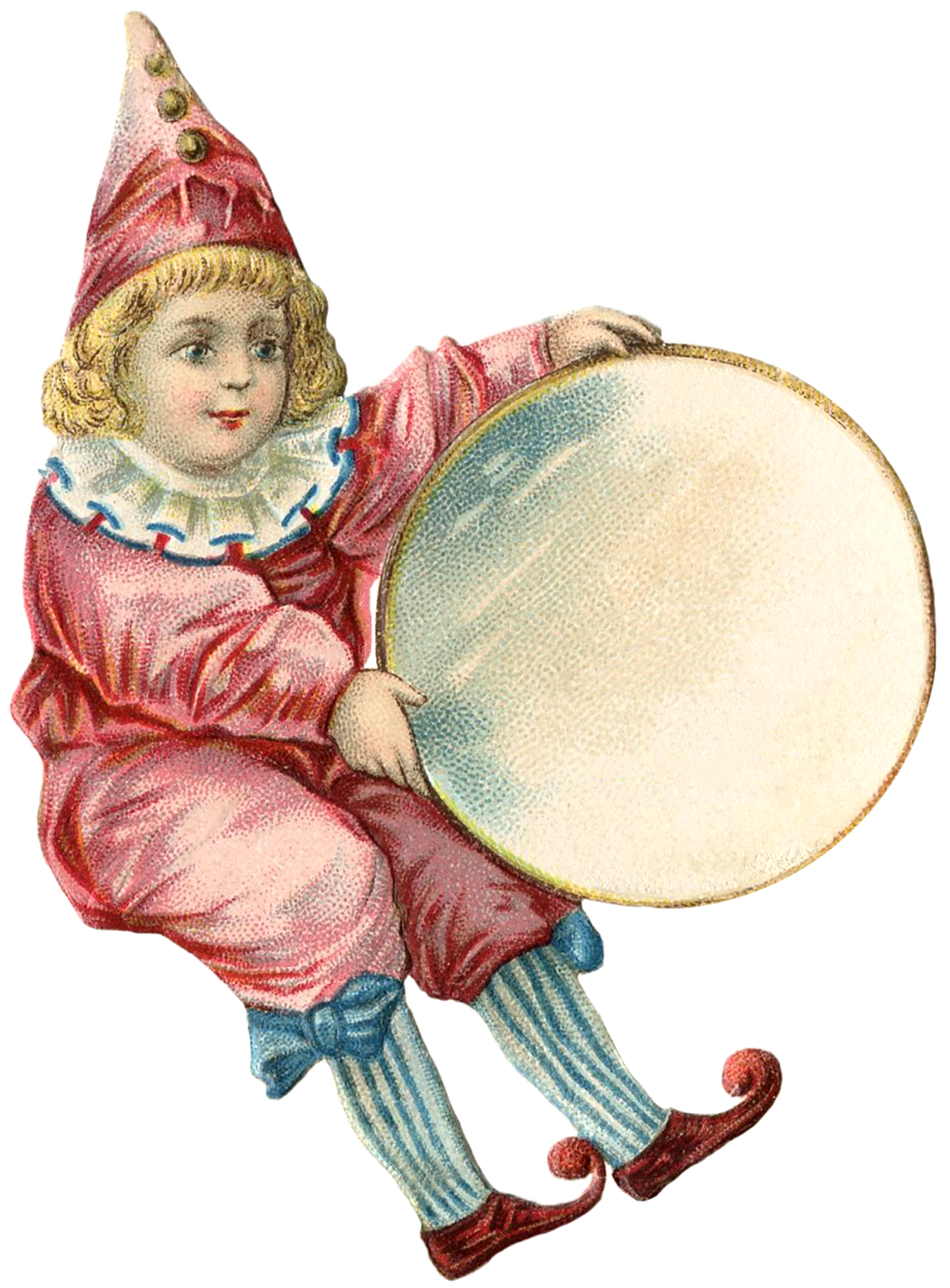 Vintage Circus Clown Clipart Antique Clown Girl Image