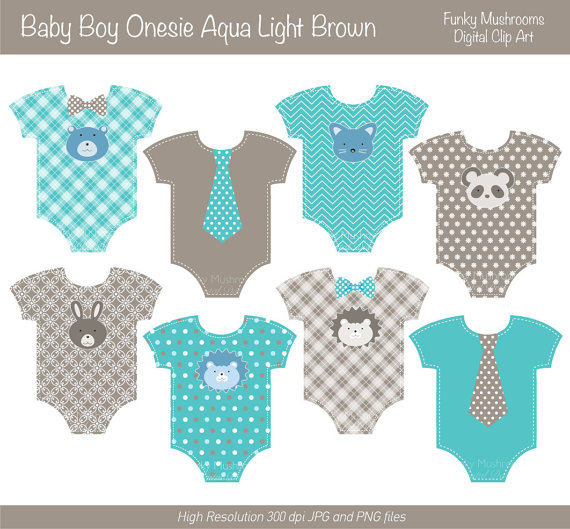 Clipart   Baby Boy Onesie Light Brown Aqua Blue Animal Faces Bow Tie