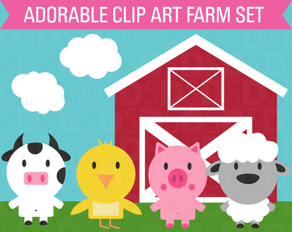 Clipart Farm Animal Set Barn Cow Chicken Sheep Pig Commercial Use