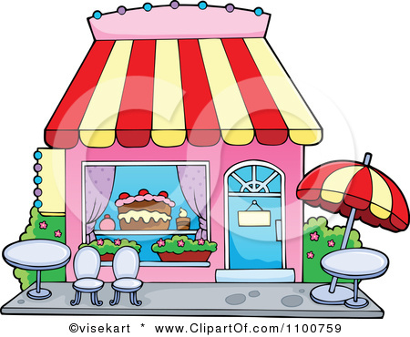 File 1100759 Clipart Cake Or Candy Shop With Outdoor Seating Royalty