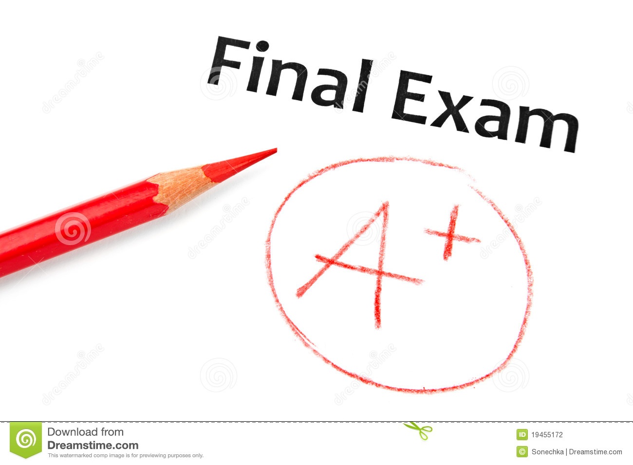 Final Exam Marked With A  With Red Pencil Isolated On White