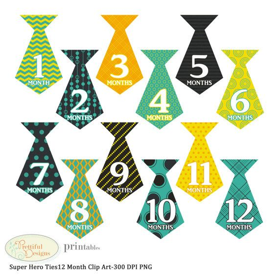 Off Sale 12 Month Baby Boy Onesie Tie Clipart By Pdprintables  1 50