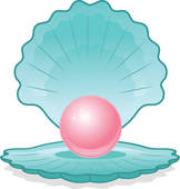 Pink Pearl In Shell   Royalty Free Clip Art
