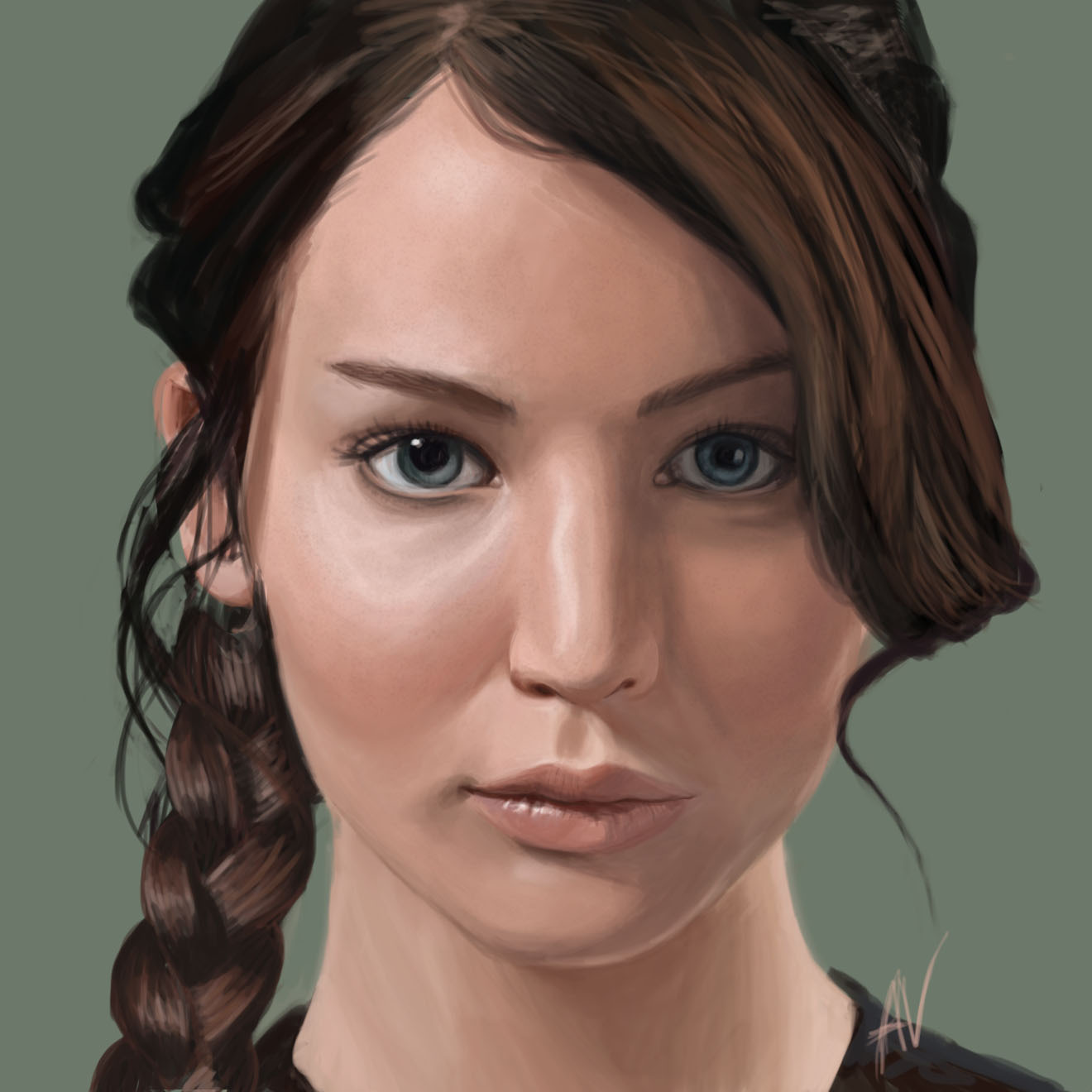 2d Fan Art Girl Brunette Brown Hair Beautiful Braid Portrait