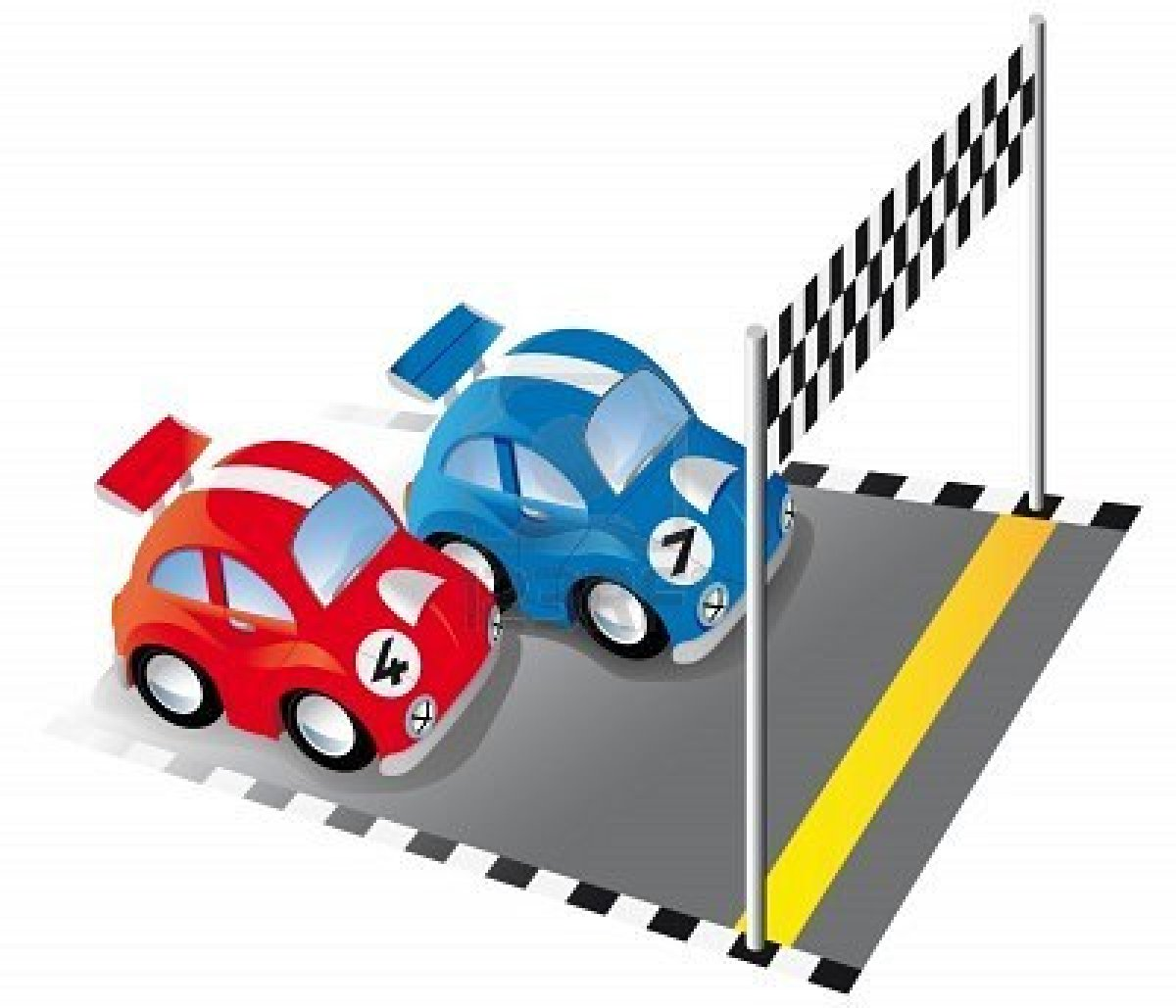 7166387 Two Funny Race Cars On Race Track With Finish Line And
