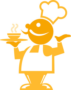 Chef Clipart Image  Yellow Chef Icon As The Cook Stands With A Serving
