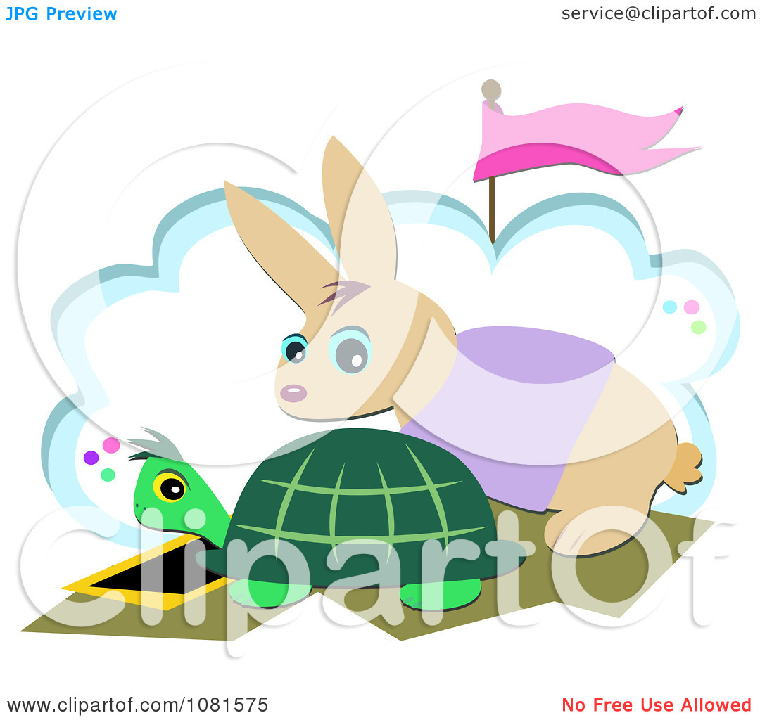 Clipart Tortoise And Hare At A Start Race Line   Royalty Free Vector