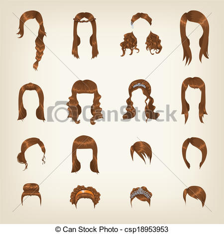 Clipart Vector Of Set Of Female Brown Hair   Set Of Sixteen Different