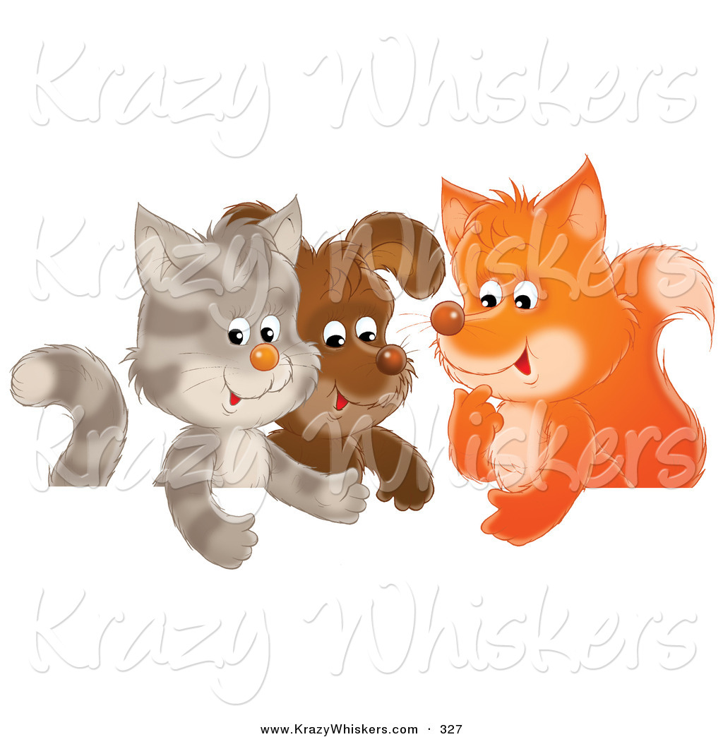 Critter Clipart Of A Cute Cat Puppy And Fox Chatting In A Group