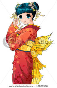 Cute Anime Girl In A Red Kimono Clipart