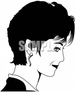 Female Model With A Short Hair Style   Royalty Free Clipart Picture