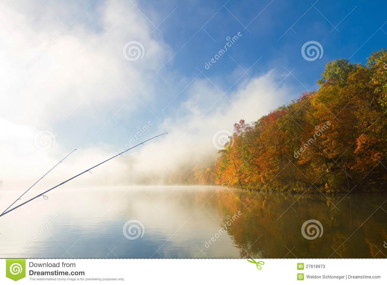 Fishing On A Foggy Fall Morning Stock Photos   Image  27618973
