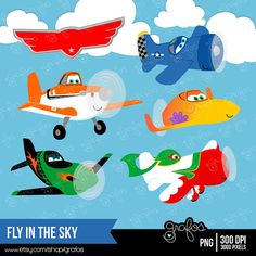 Fly In The Sky Digital Clipart Airplanes Clipart Planes By Grafos  5