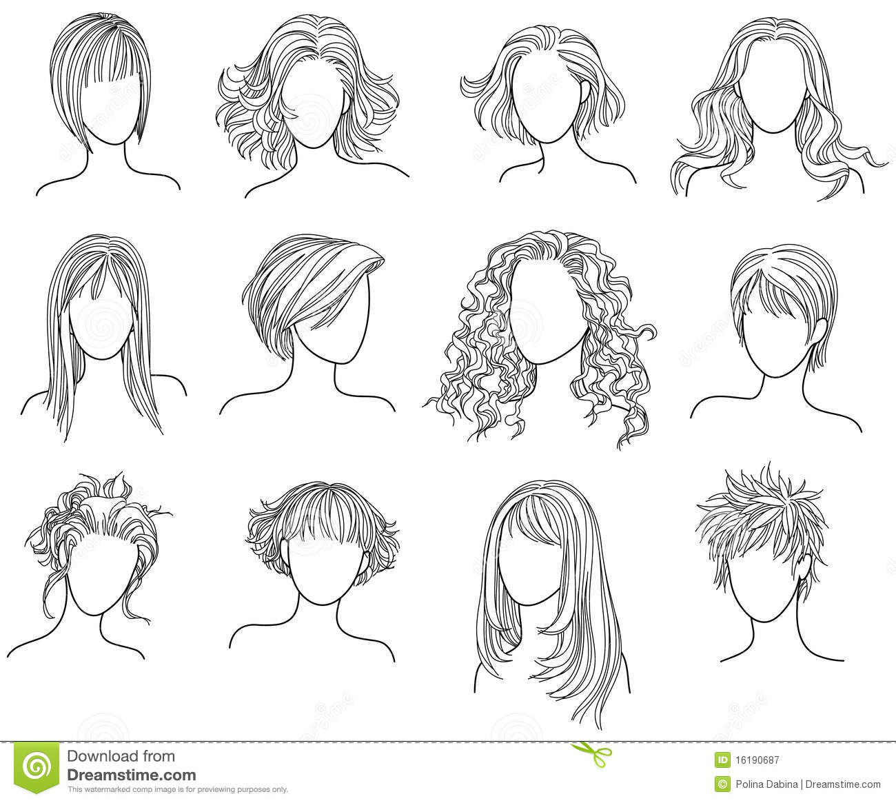 Hairstyles Royalty Free Stock Photography   Image  16190687