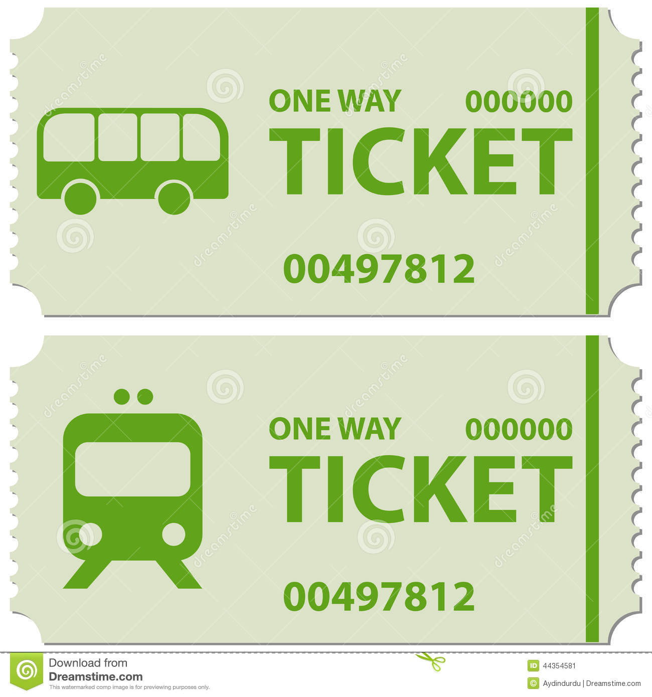 Illustration Of Bus And Train Tickets With Text   Ticket One Way   In