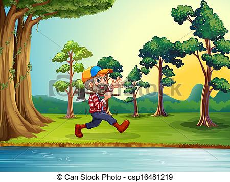 Nature Walk Clipart Vector Clip Art Of A Happy Woodman Walking At The