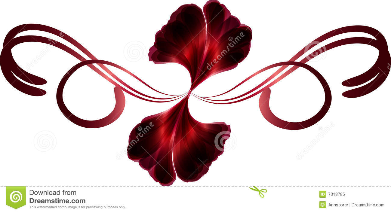 Red Bouquet Of Flower Petals Tied With A Swirly Abstract Ribbon