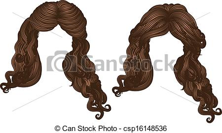 Vector   Curly Hair Of Brown Color   Stock Illustration Royalty Free