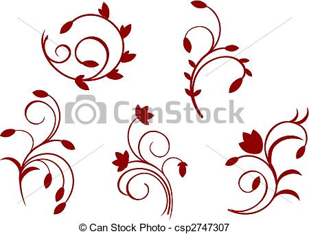 Vectors Illustration Of Simplicity Floral Decorations Isolated On The