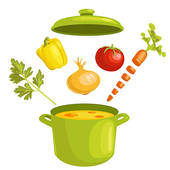 Vegetable Soup With Ingredients   Stock Illustration