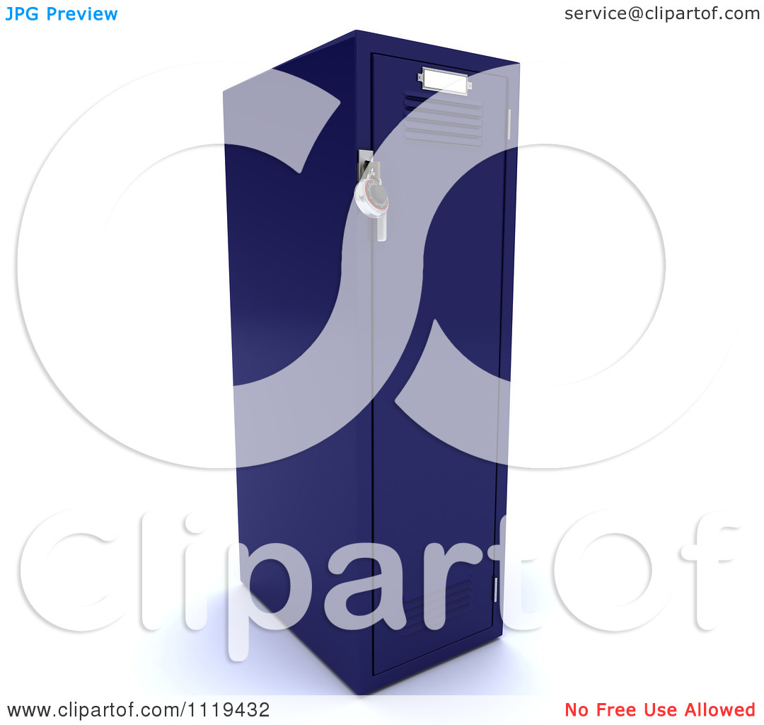 Clipart Of A 3d Blue Gym Locker   Royalty Free Cgi Illustration By Kj