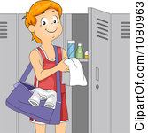 Clipart Teen Boy Athlete Standing By His Gym Locker Royalty Free