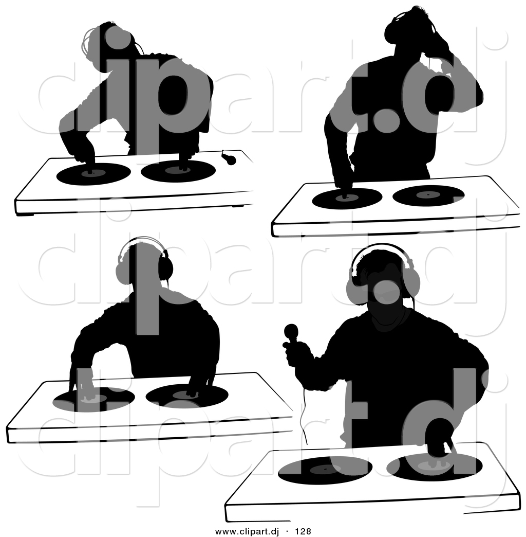 Dj Silhouettes With Dual Record Turntables Digital Collage 3 Unique Dj