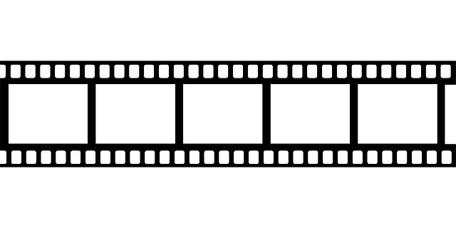 Free Drive In Movie Clip Art   Black Frame White Movie Tape Film