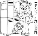 Happy Blond School Girl At Her Locker Royalty Free Vector Clipart