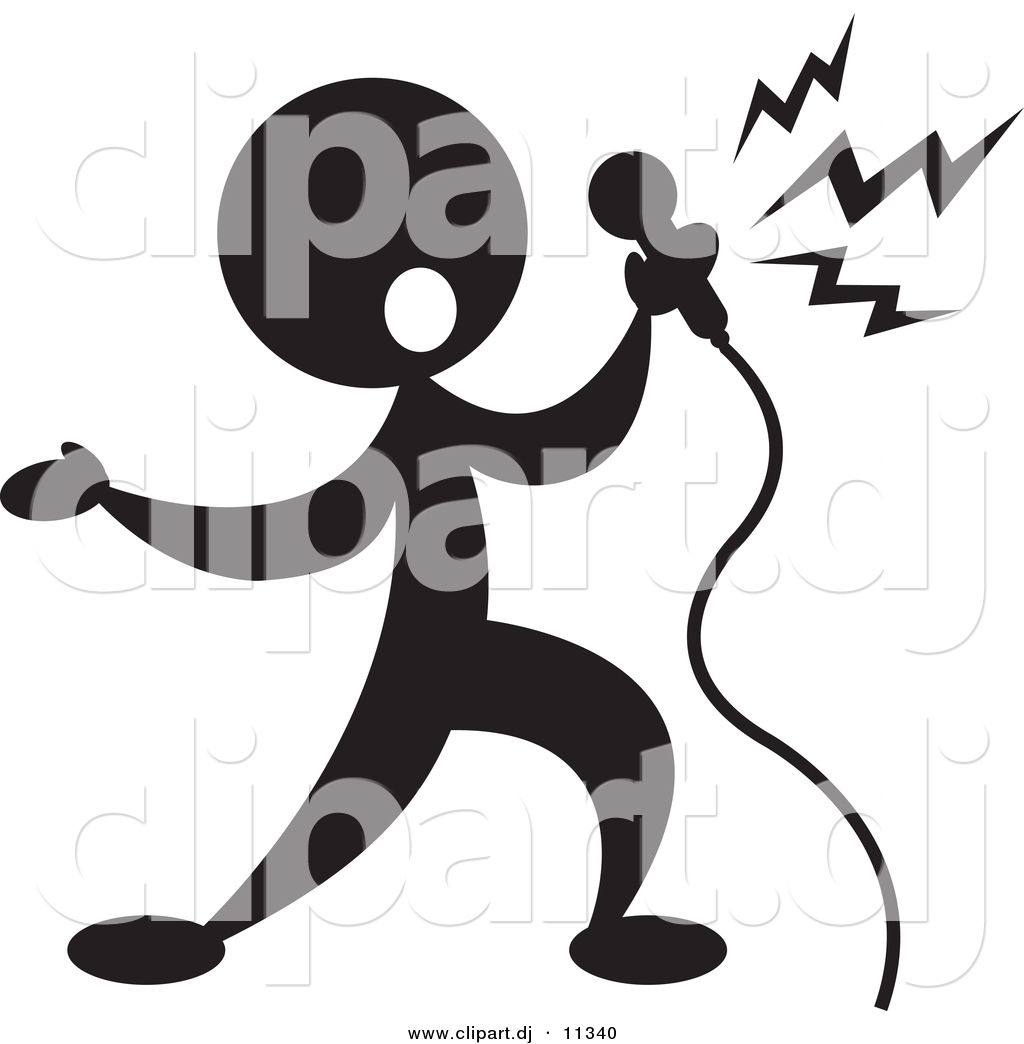 Larger Preview  Vector Clipart Of A Person Singin Into Microphone