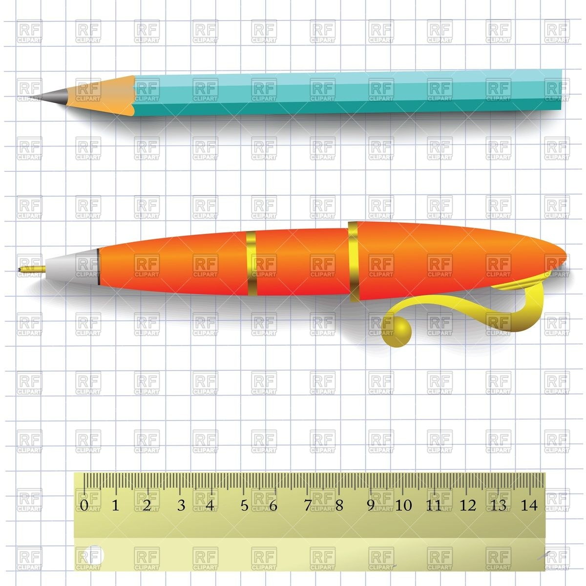 Pencil And Ruler 42735 Download Royalty Free Vector Clipart  Eps