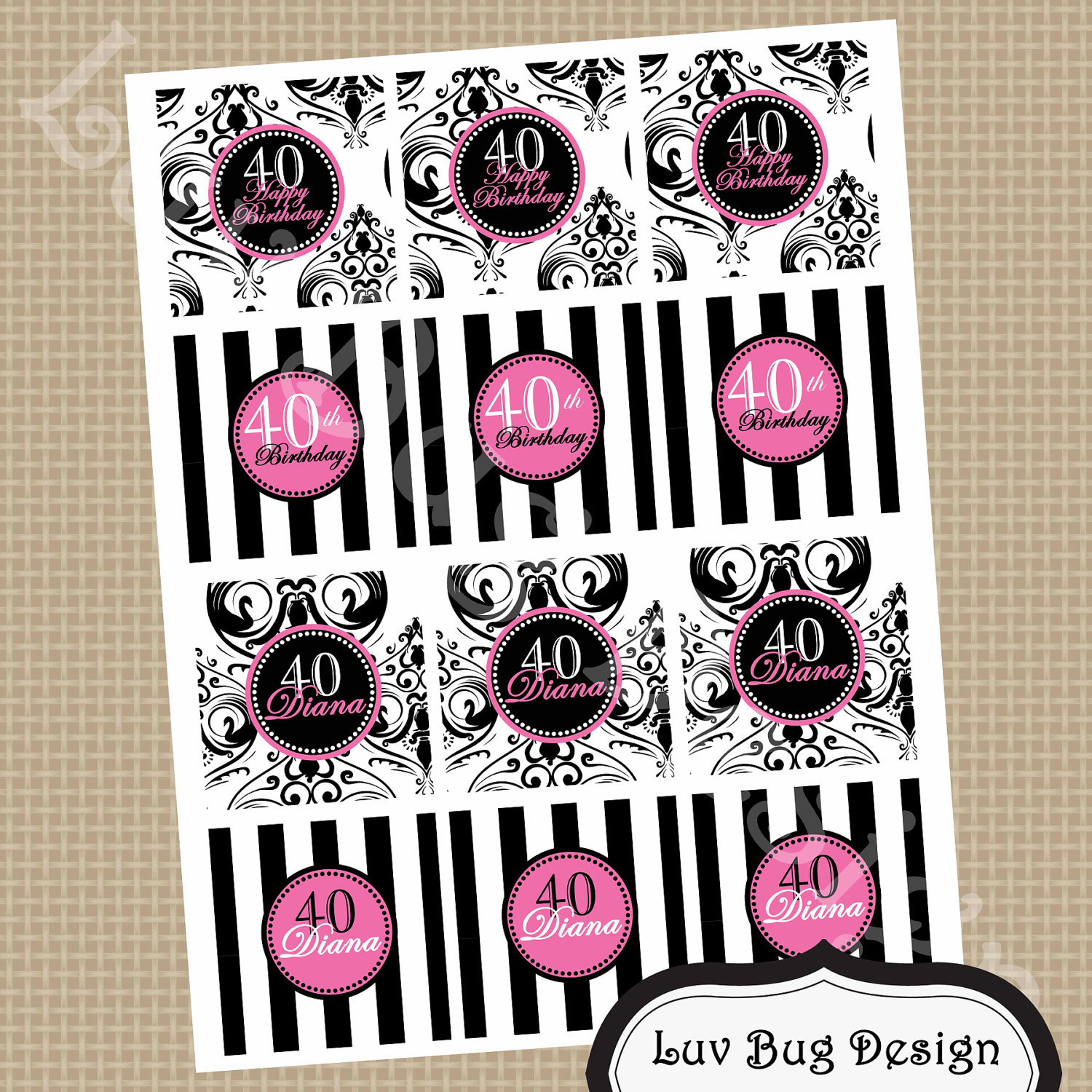 Printable Diva 40th Birthday Cupcake Topper Favor By Luvbugdesign
