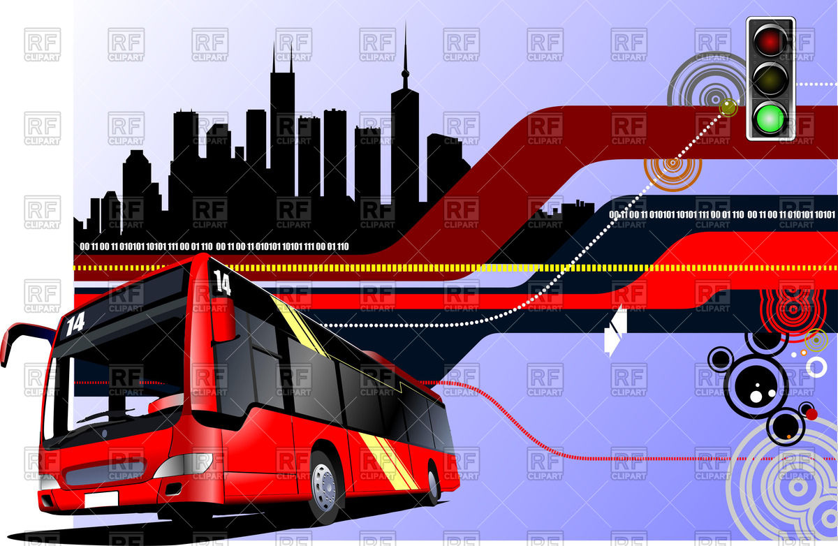 Red City Bus On Retro Hi Tech Background 51334 Download Royalty Free