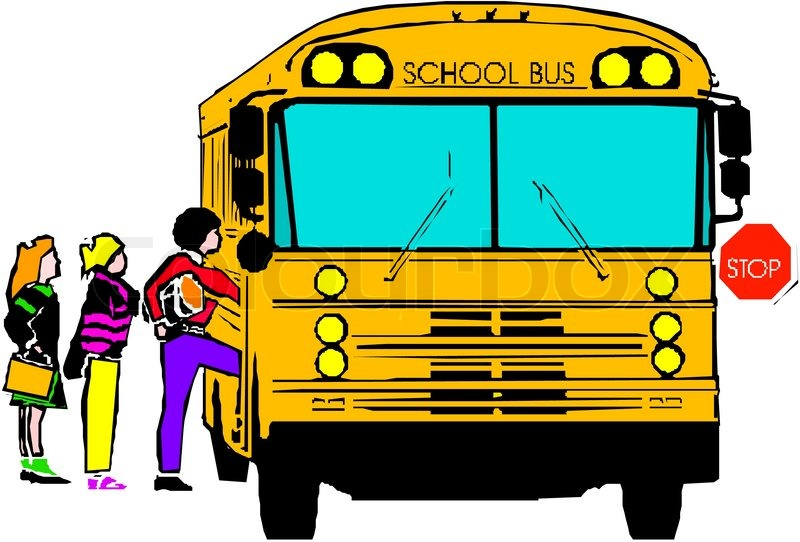 School Cartoon Bus   Vector   Colourbox