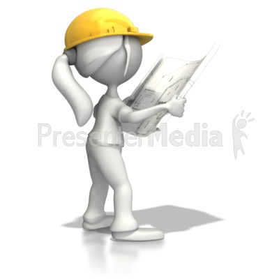 Woman Reading Blueprints   Science And Technology   Great Clipart For