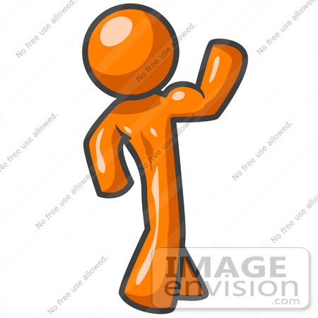 34307 Clip Art Graphic Of An Orange Guy Character Flexing His Strong