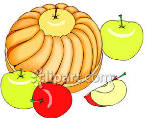 Bundt Cake And Apples   Royalty Free Clipart Picture