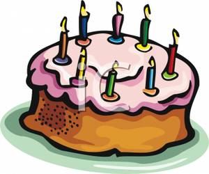 Bundt Cake With Birthday Candles On Top   Royalty Free Clipart Picture