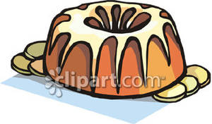 Bundt Cake With Glaze Royalty Free Clipart Picture