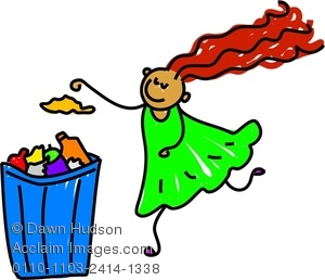 Clip Art Boy Putting Trash In Recycling