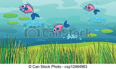 Clip Art Vector Of A Fish In A River And A Beautiful Landscape