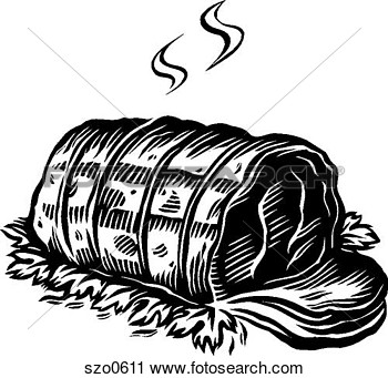 Clipart Of A Black And White Drawing Of Roast Beef Ready To Be Served