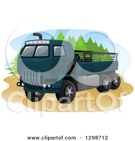Clipart Of A Blue Army Truck   Royalty Free Vector Illustration By Bnp