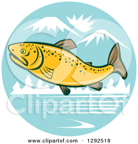 Clipart Of A Cartoon Brown Trout Fish Leaping Over A River In The
