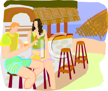 Couple Having Drinks At A Tiki Bar   Royalty Free Clipart Image
