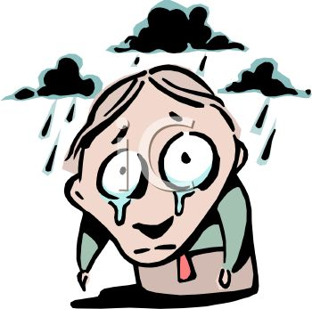 Of A Gloomy Guy Standing In The Rain With Tears On His Face Clipart