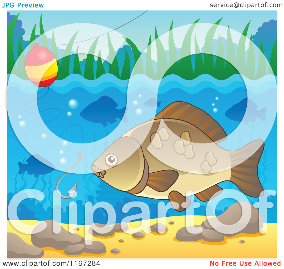 River Fish And Fishing Hook And Bobber 2   Royalty Free Vector Clipart